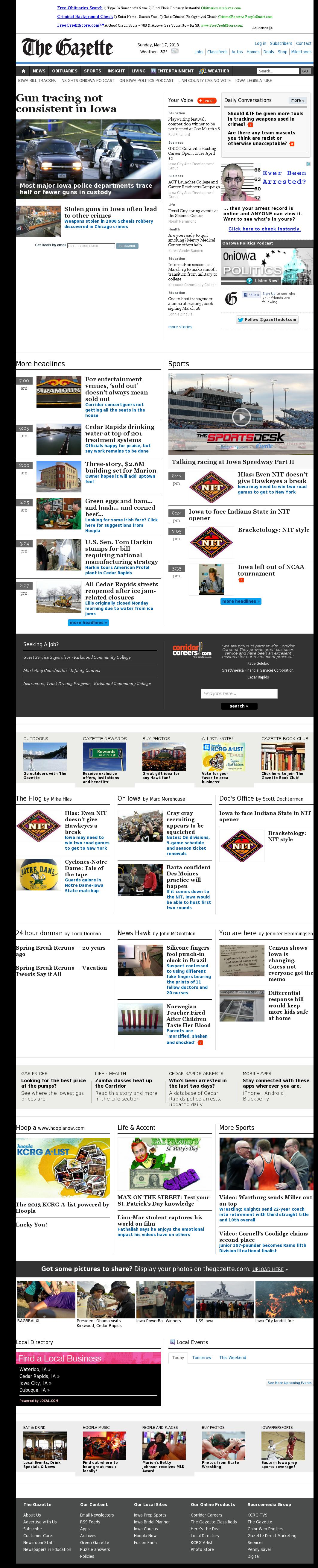 The (Cedar Rapids) Gazette at Monday March 18, 2013, 2:09 a.m. UTC